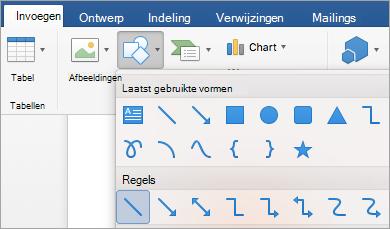 Een regel in het menu Shapes te selecteren