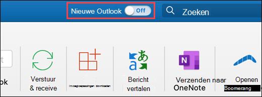 Schermafbeelding met de nieuwe schakelknop voor Outlook voor Mac
