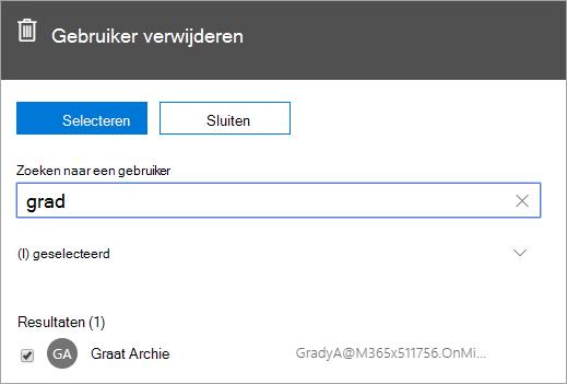 Schermafbeelding van de opdracht voor het verwijderen van een gebruiker in Office 365-beheer.