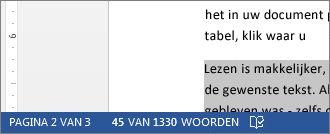 Statusbalk met het aantal woorden in een geselecteerd stuk tekst