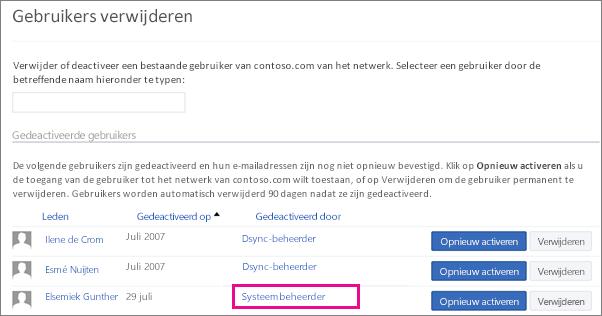Schermafbeelding van een gebruiker die is verwijderd door de systeembeheerder