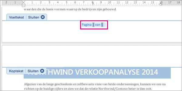 Bereid het knippen van de paginanummertekst voor door de tekst te selecteren.