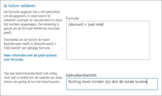 Dialoogvenster Kolom valideren met velden ingevuld met voorbeeldgegevens