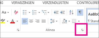 Startpictogram voor het dialoogvenster Alinea