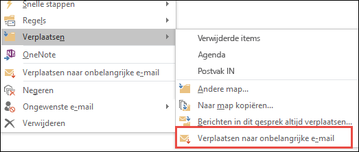 Verplaatsen naar Onbelangrijke e-mail