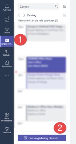 """Klik op het tabblad vergaderingen op """"een vergadering plannen"""" een vergadering wilt toevoegen aan uw agenda"""