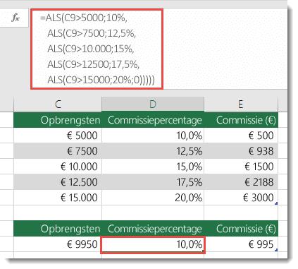 Formule in D9 heeft een onjuiste volgorde: =ALS(C9>5000,10%,ALS(C9>7500,12.5%,ALS(C9>10000,15%,ALS(C9>12500,17.5%,ALS(C9>15000,20%,0)))))