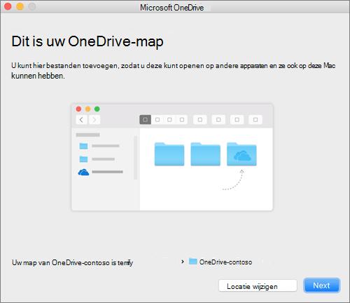 Schermafbeelding van de pagina Dit is uw OneDrive-map nadat u een map hebt gekozen in de wizard Welkom bij OneDrive op een Mac