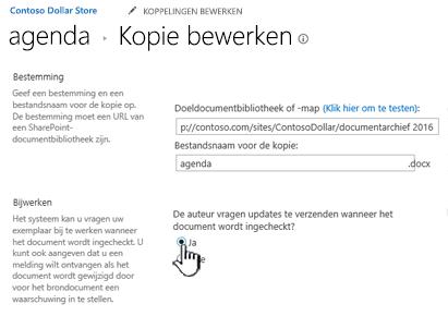 Klik op Ja in de sectie de auteur vragen om updates te verzenden wanneer het document wordt gecontroleerd