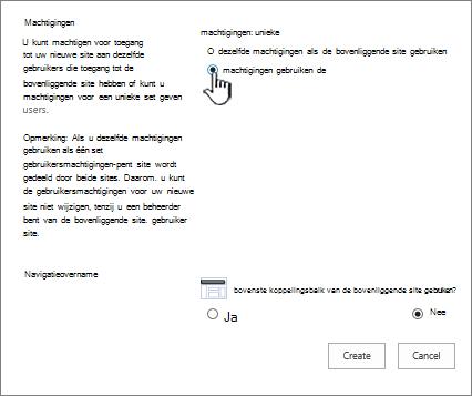 Scherm van ondernemingswiki met unieke machtigingen aangewezen