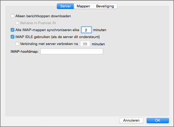 Serverinstellingen IMAP-account in Outlook 2016 Mac