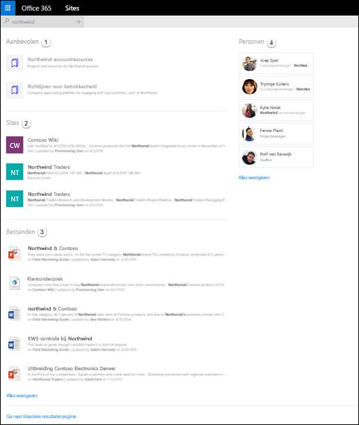 Zoekresultaten op startpagina van SharePoint
