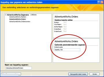 Parameter voor gegevensverbinding voor webservice