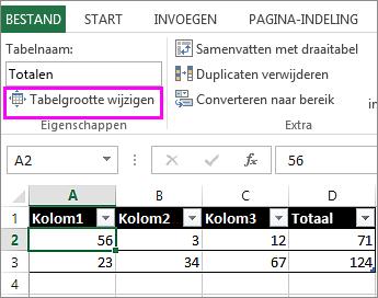 de optie tabelgrootte wijzigen in de groep hulpmiddelen voor tabellen