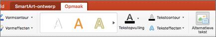 De knop alternatieve tekst voor een SmartArt-afbeelding op het lint van Power Point voor Mac