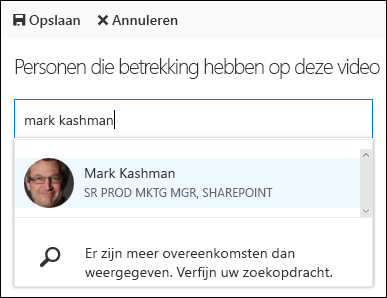 Office 365 Video koppelen personen
