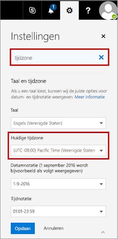 Pagina Instellingen met de huidige tijdzone