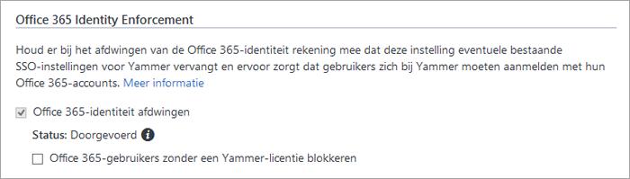 Schermafbeelding van het selectievakje Office 365-gebruikers zonder Yammer-licentie blokkeren in de beveiligingsinstellingen van Yammer