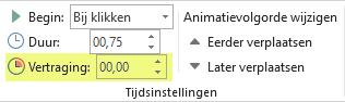 De optie Vertraging voor animatie-effecten in PowerPoint
