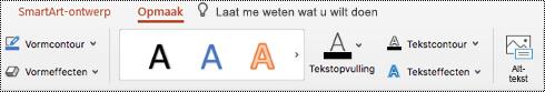 Knop Alternatieve tekst op het lint voor een SmartArt in PowertPoint voor Mac.
