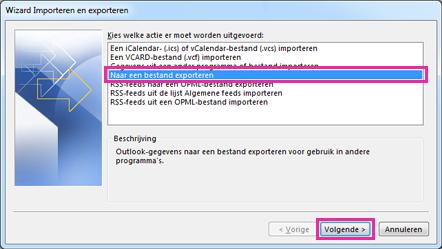 Exportwizard van Outlook - Exporteren naar bestand
