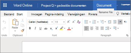 Op de titelbalk klikken om de naam van een document in Word Online te wijzigen