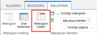 De knop Weergave maken van de SharePoint-bibliotheek op het lint.