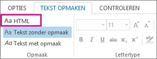 Optie HTML-indeling op het tabblad Tekst opmaken in een bericht