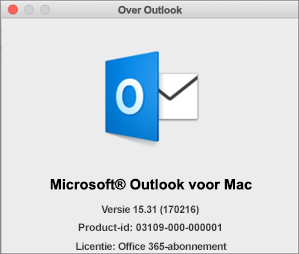 Als u Outlook via Office 365 hebt, staat er Office 365-abonnement in plaats van Over Outlook.