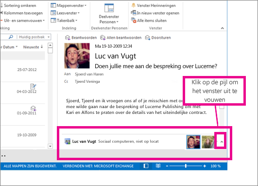 Outlook Connector voor sociale netwerken is standaard geminimaliseerd