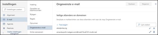 Een schermafbeelding toont het gedeelte Veilige afzenders van de instellingen voor ongewenste e-mail in E-mail in Instellingen voor Outlook.com.