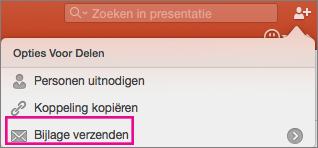 Bijlage verzenden in PowerPoint voor Mac