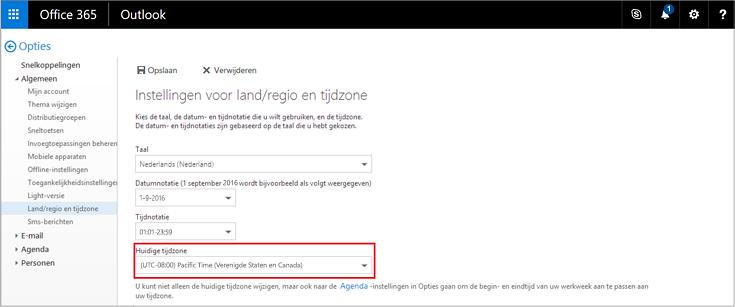 Huidige instelling voor de tijdzone op de pagina Regio en tijdzone