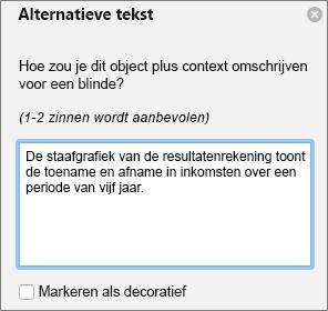 Excel 365 dialoog venster alternatieve tekst voor draai grafieken schrijven