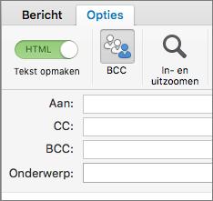 U kunt het BCC-vak inschakelen door een nieuw bericht te openen, het tabblad Opties te kiezen en BCC te kiezen.