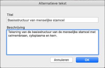 Dialoogvenster met alternatieve tekst voor Mac Sierra.