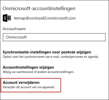 Accounts verwijderen uit de e-mailapp