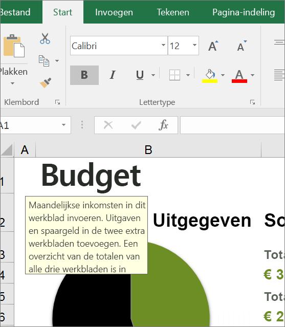 Schermopname van Excel-gebruikersinterface met ingebouwde instructie