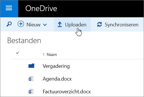 Schermafbeelding van de knop Uploaden in OneDrive voor Bedrijven in Office 365