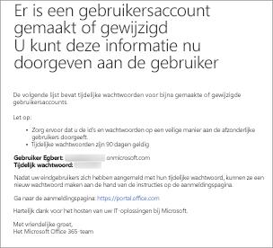 U ontvangt een e-mail die op deze lijkt met de gebruikersnaam en het wachtwoord van de gebruiker.