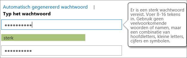 Geeft de wachtwoordvereisten weer als u een wachtwoord typt