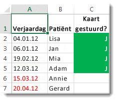 Voorbeeld van voorwaardelijke opmaak in Excel