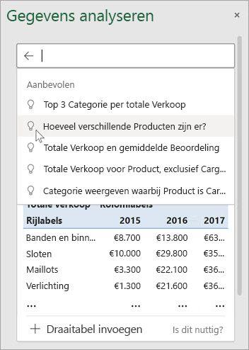 Met ideeën in Excel krijgt u voorgestelde vragen op basis van een analyse van uw gegevens.
