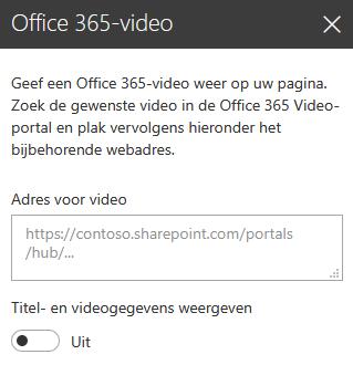 Schermafbeelding van het Office 365-dialoogvenster Videoadres in SharePoint.