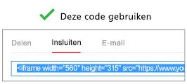 Voor een juiste werking moet de code die u voor het insluiten van uw video gebruikt, beginnen met iFrame of <object.