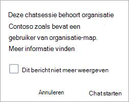 Schermafbeelding van een melding dat de chat een organisatie is