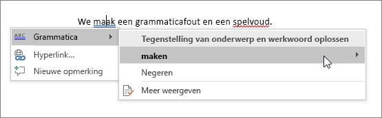 Voorbeeld van spelling en grammatica in Office 365