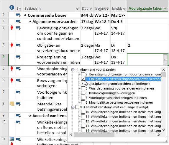 Schermafbeelding van de vervolgkeuzelijst van de kolom Voorafgaande taken in Project