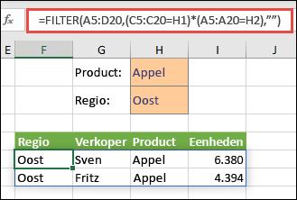FILTER gebruiken met de operator voor vermenigvuldigen (*) om alle waarden in het matrixbereik (A5:D20) terug te geven die zowel Apples zijn en zich bevinden in de oostelijke regio.