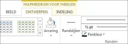 Locatie van Hulpmiddelen voor tabellen